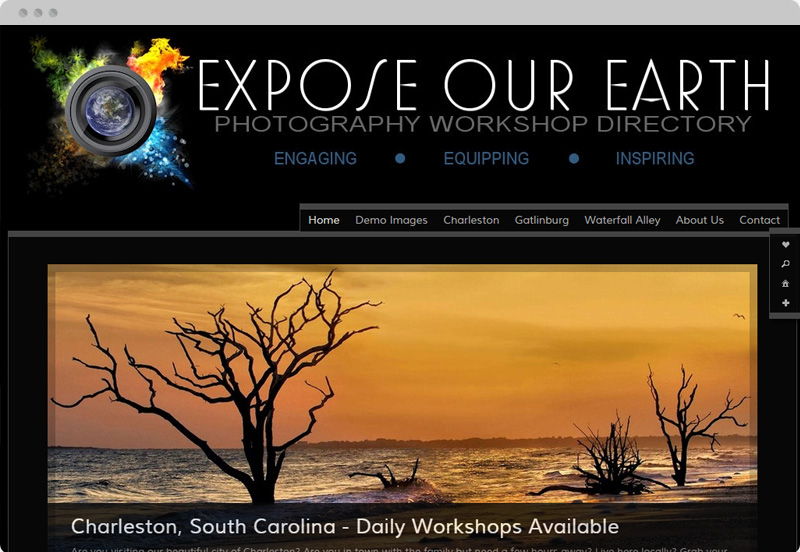 Redframe Photography Websites Client Example - Expose Our Earth Photography