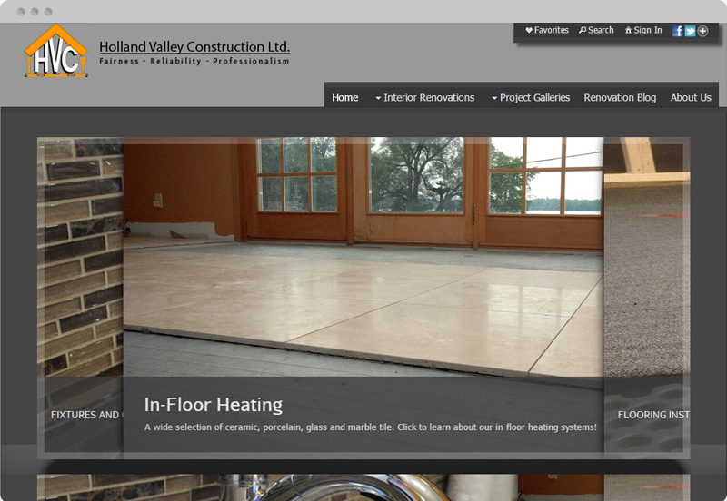Redframe Photography Websites Client Example - Holland Valley Construction
