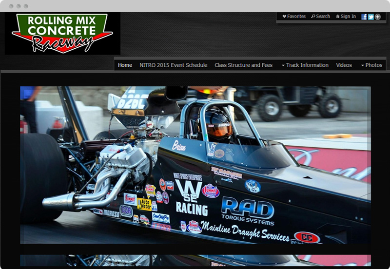 Redframe Photography Websites Client Example - Northland Motorsports Park