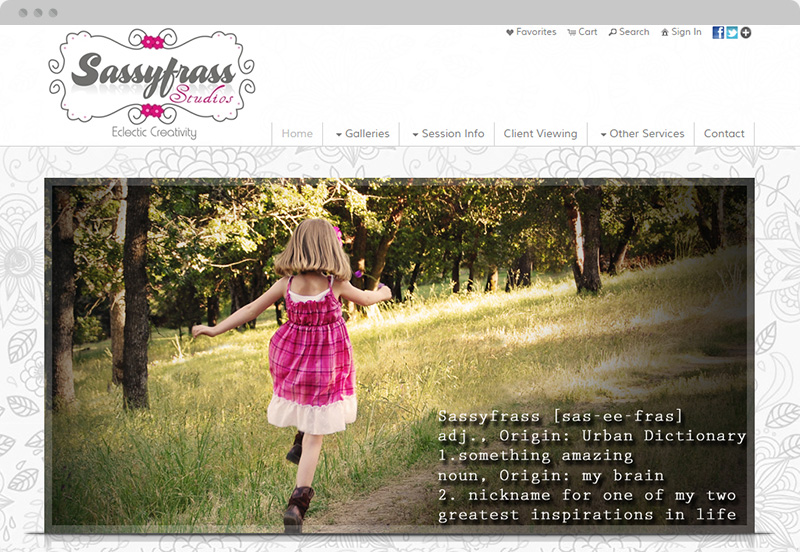 Redframe Photography Websites Client Example - Sassyfrass Studios