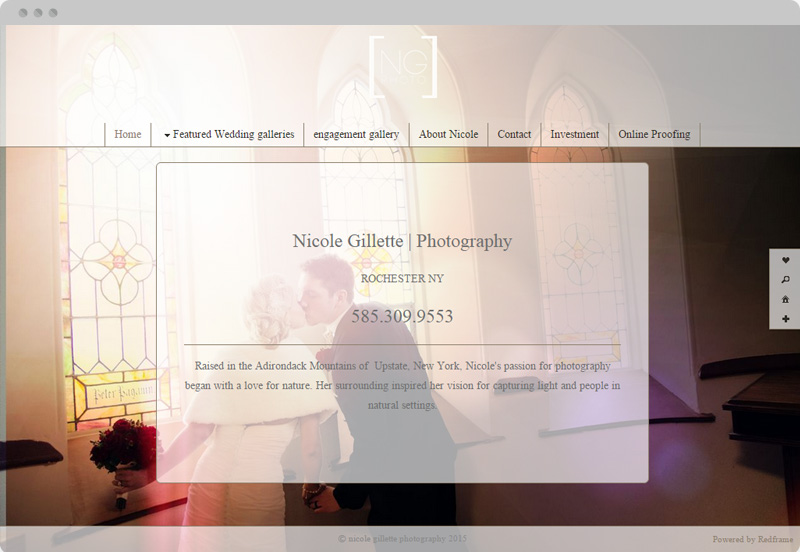 Redframe Photography Websites Client Example - Nicole Gillette Wedding Photographer